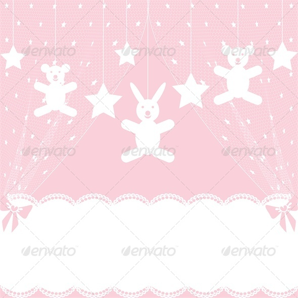 GraphicRiver Baby Shower Card with Crib 4245799