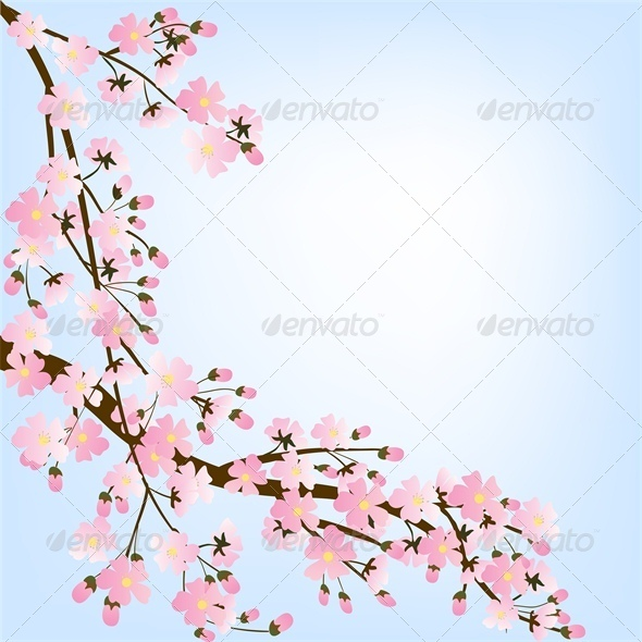 GraphicRiver Spring Background with Blooming Tree 4245814