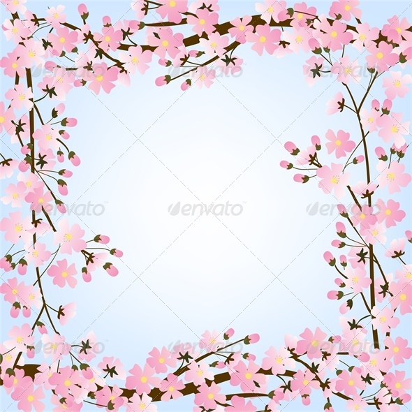 GraphicRiver Spring Background with Blooming Tree 4245817