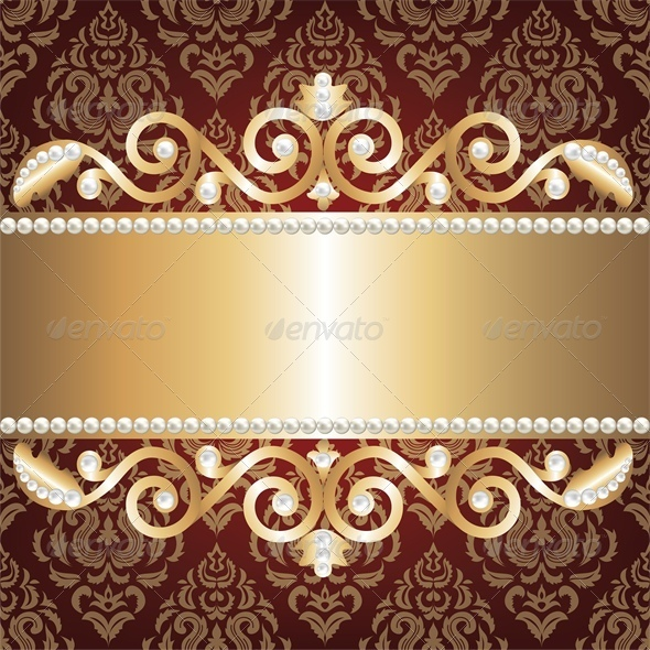 GraphicRiver Background with Gold Jewelry Frame and Pearls 4245829