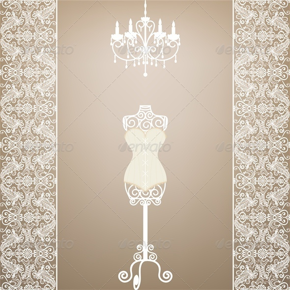 GraphicRiver Card with Mannequin and Chandelier 4245875