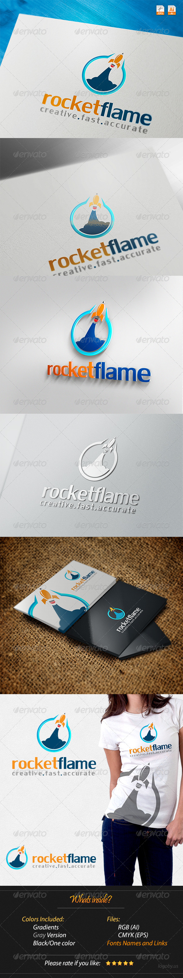 GraphicRiver Rocket Flame Creative Fast Accurate Logo 4245877