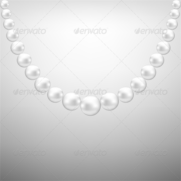 GraphicRiver Gray Background with White Pearl Necklace 4245901
