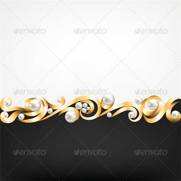 GraphicRiver Background with Gold Jewelry Frame and Pearls 4245906