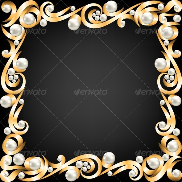GraphicRiver Background with Gold Jewelry Frame and Pearls 4245907