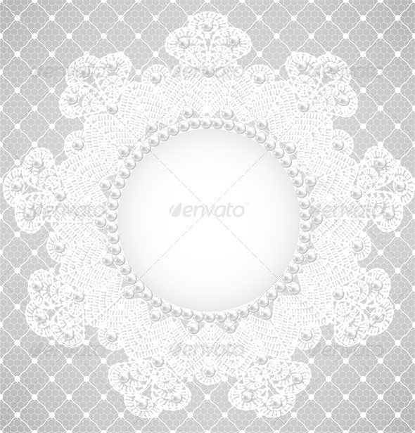 GraphicRiver Pearl Frame and Lace Background 4245913