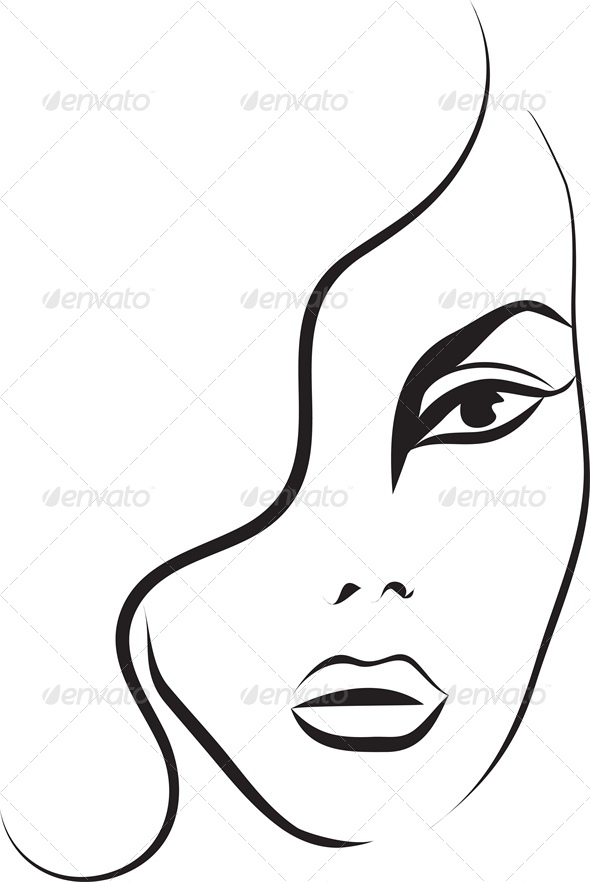 GraphicRiver Fashion Sketch of a Woman s Face 4245914