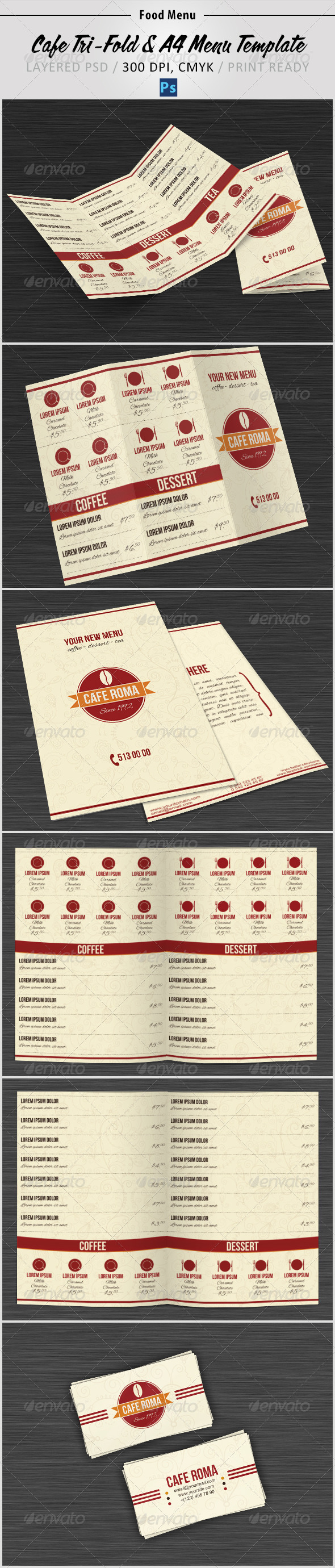 GraphicRiver Cafe Tri-Fold & A4 Menu Template 4246499