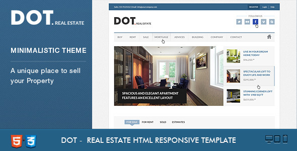 ThemeForest Dot Real Estate HTML5 & CSS3 Template 4246631