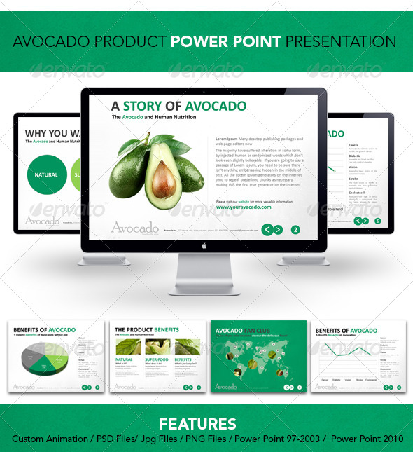 GraphicRiver Avocado Product Power Point Presenattion 4247438
