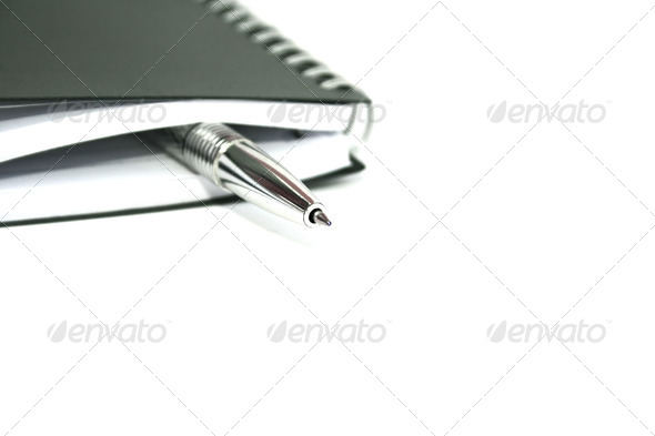 PhotoDune Silvery pen and note-book 4247580
