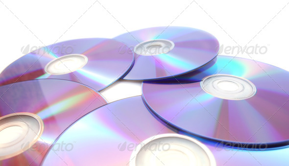PhotoDune Five printable dvds isolated on white 4247602