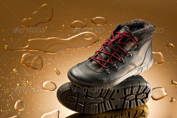 black winter shoes - Stock Photo - Images
