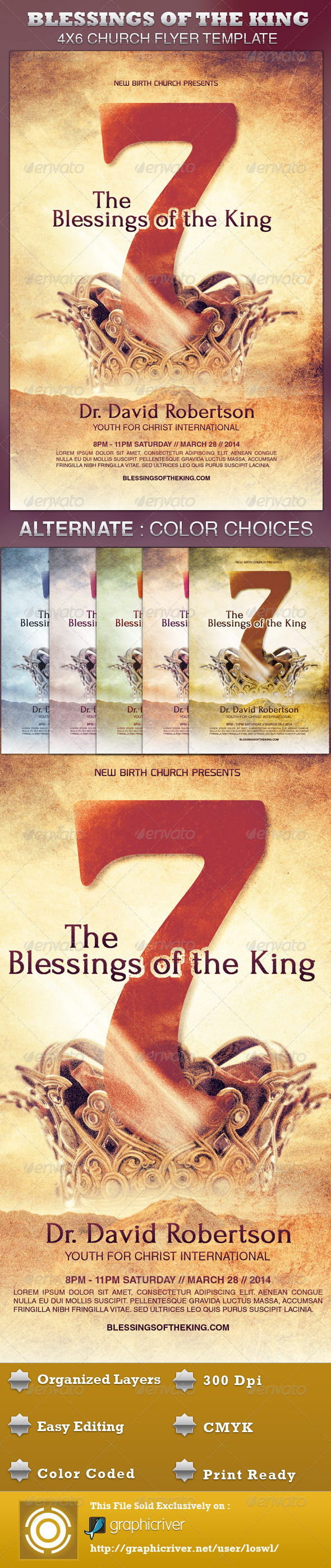GraphicRiver Seven Blessings of the King Church Flyer Template 4248699