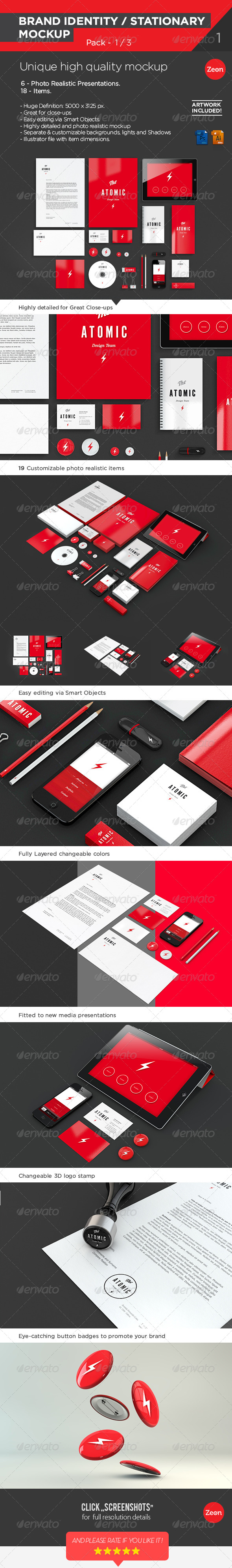 Brand Identity | Stationary Mockup - Pack:1/2 - Print Product Mock-Ups
