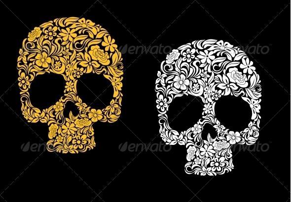 GraphicRiver Floral Skull in Retro Style 4249457