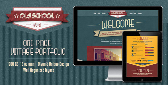 One Page PSD Vintage Portfolio - Old School