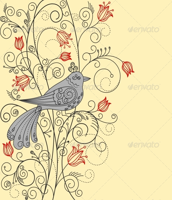 GraphicRiver Abstract Floral Background with Bird 4250084