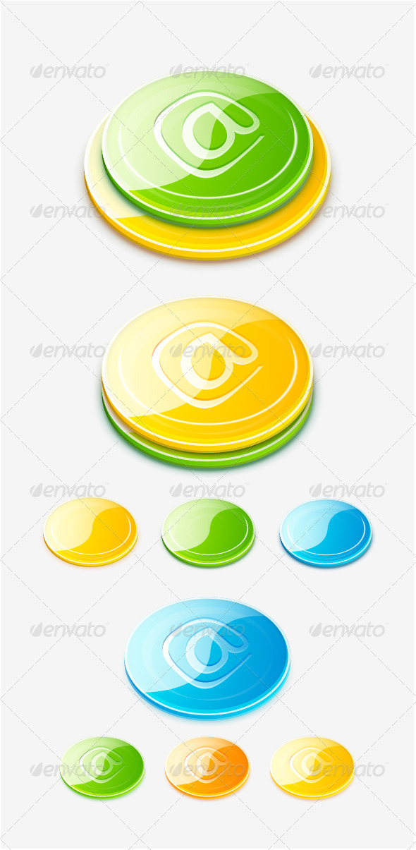 3d vector glossy buttons - Web Elements Vectors