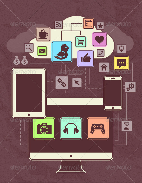 GraphicRiver Gadgets Icons in a Network Cloud 4250788