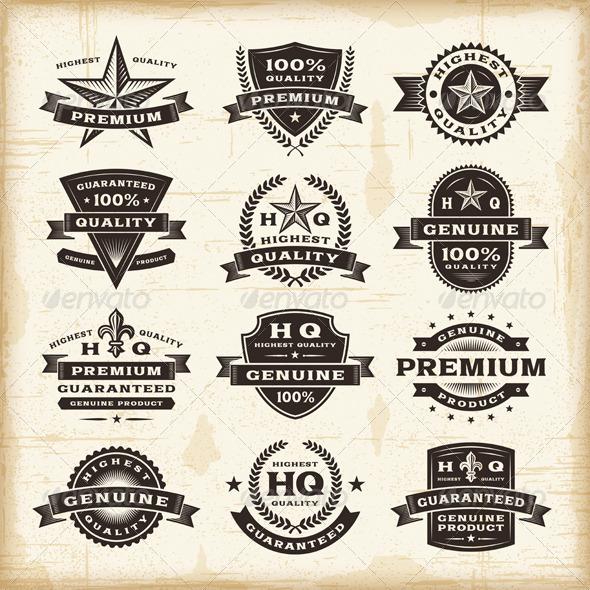GraphicRiver Vintage Premium Quality Labels Set 4251292
