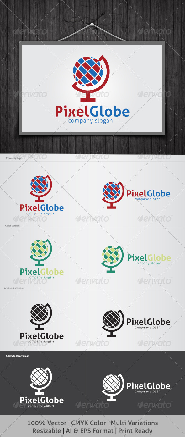 Pixel Globe Logo - Objects Logo Templates