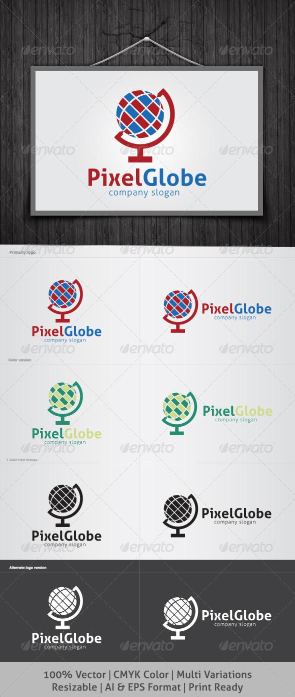 GraphicRiver Pixel Globe Logo 4117146