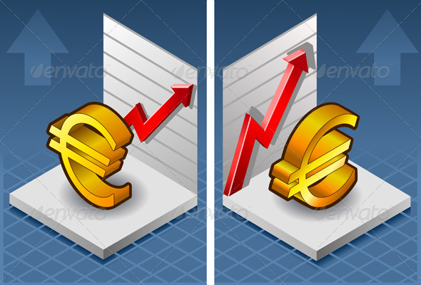 GraphicRiver Isometric Euro Symbol with Red Arrow Up Exchange 4138237