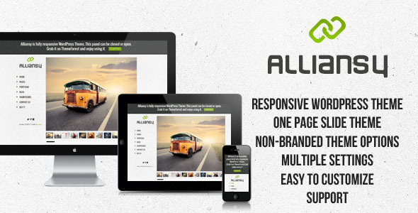 ALLIANSY - Responsive One-Slide WordPress Theme