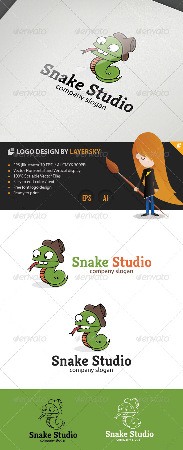 GraphicRiver Snake Studio Logo 4253078