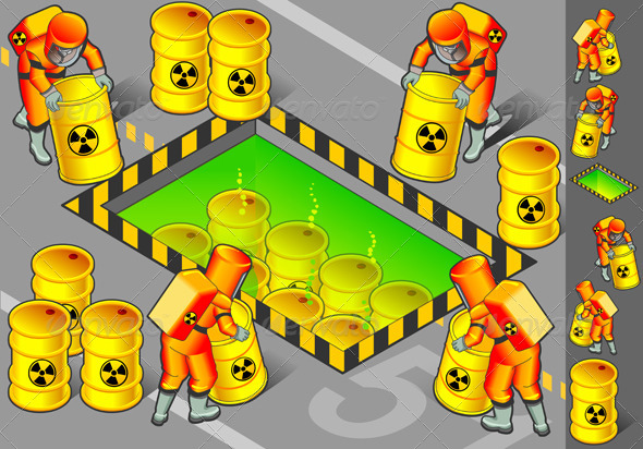 GraphicRiver Isometric Nuclear Area with Mans at Work 4137524