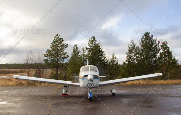 PhotoDune Small airplane parking front view 4253605