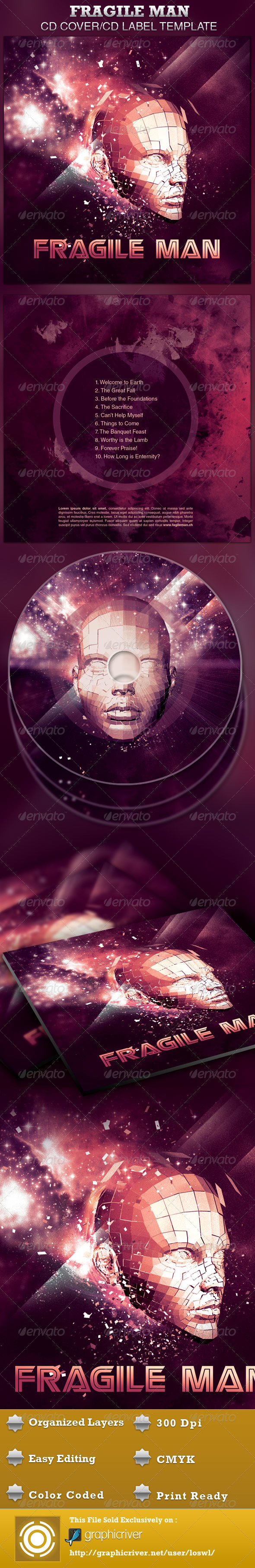 GraphicRiver Fragile Man CD Artwork Template 4253570