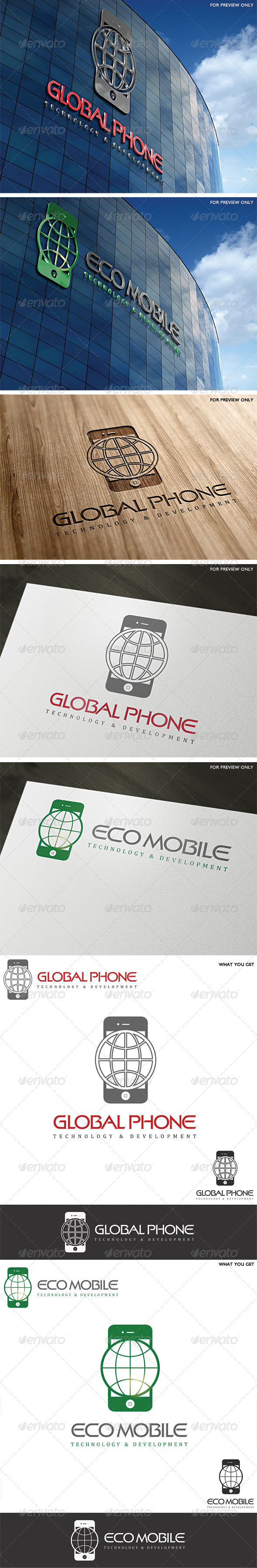 Multipurpose Mobile Phone Logo Template - Vector Abstract