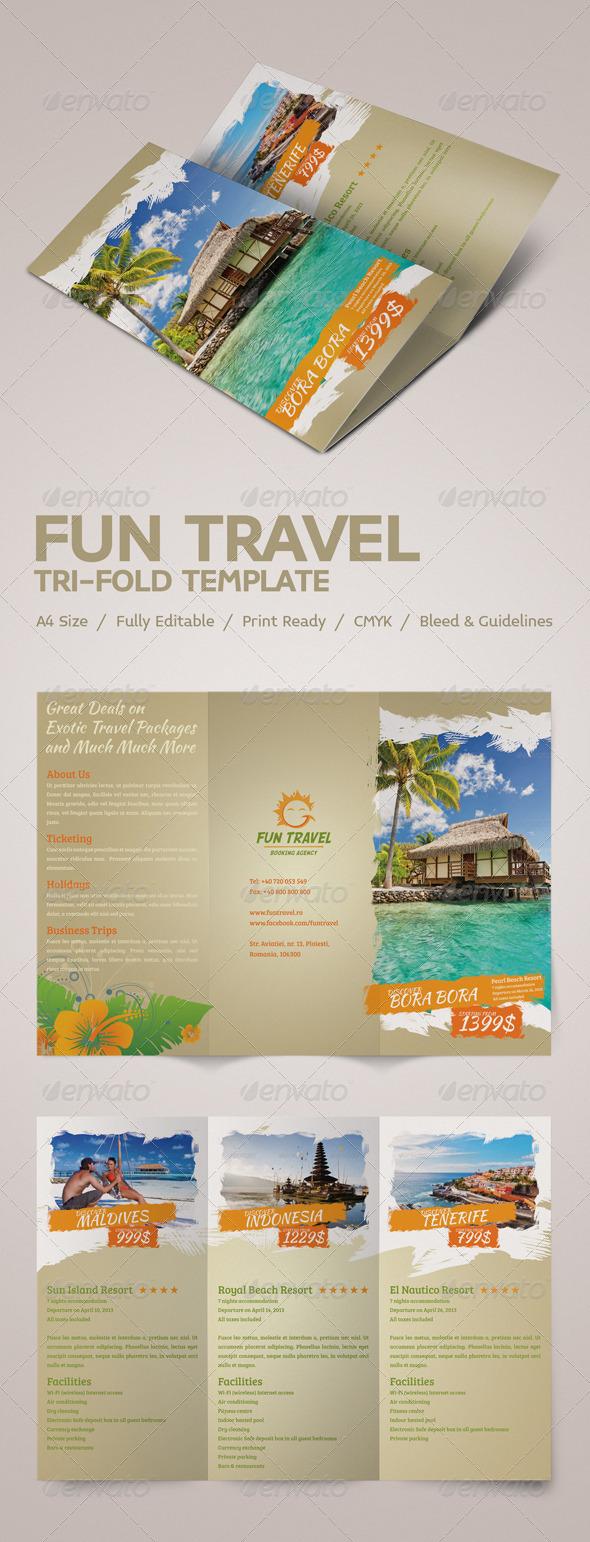 simple tri fold brochure template - fun travel tri fold brochure graphicriver