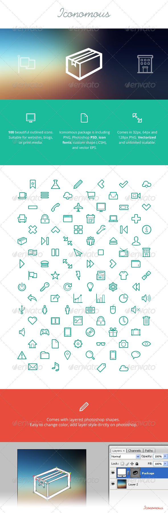 GraphicRiver Iconomous - 100 Outlined Icons