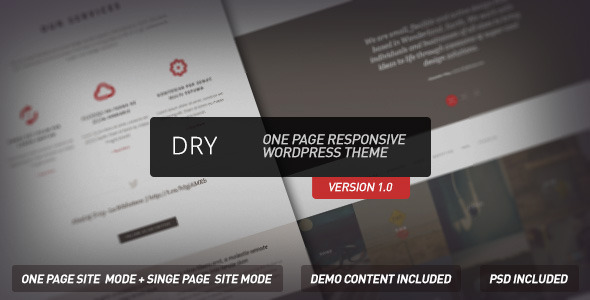 ThemeForest Dry One Page Responsive Wordpress Theme 4232933