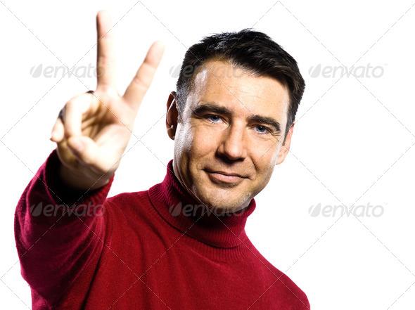 PhotoDune caucasian man peace sign gesture 4254825