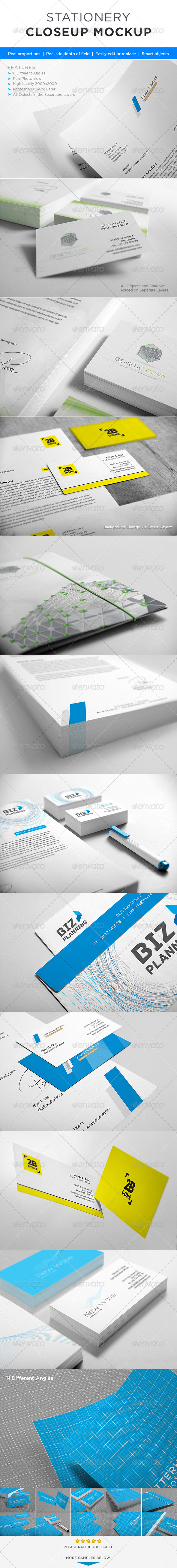 GraphicRiver Photorealistic Stationery Closeup Mock-up 4255180
