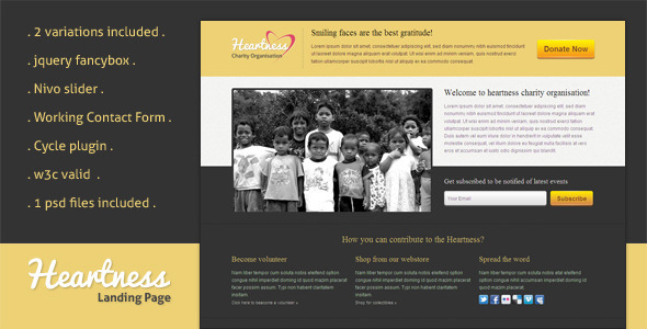 View live Demo for Heartness - Nice Landing Page Template for Service Organizations for Donations and Fund Raising