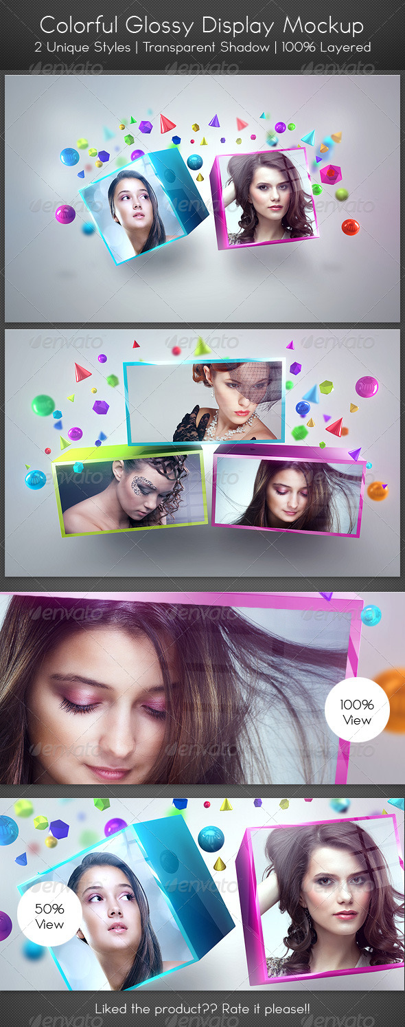 GraphicRiver Colorful Glossy Display Mockup 4256108