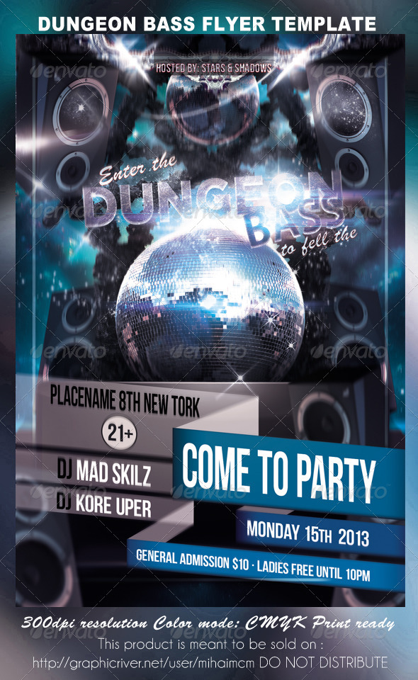 GraphicRiver Dungeon Bass Party Flyer Template 3844783