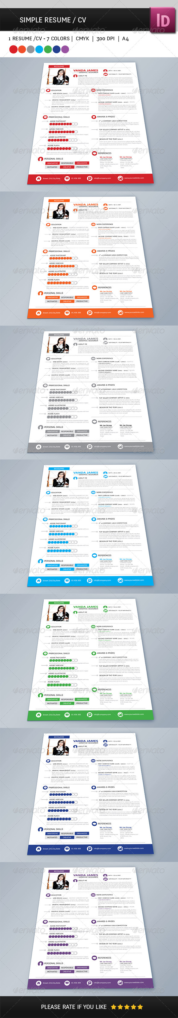 GraphicRiver Simple Resume CV 4058385