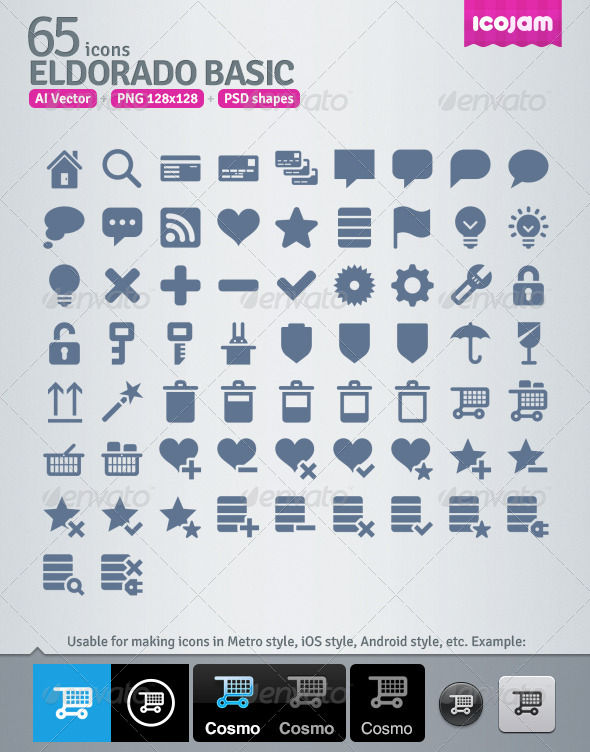 65 AI and PSD Basic strict Icons  - Media Icons