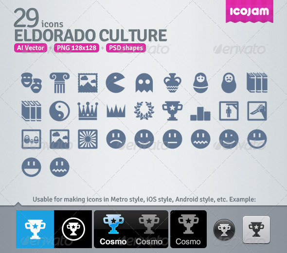 GraphicRiver 29 AI and PSD Culture strict Icons 4256946