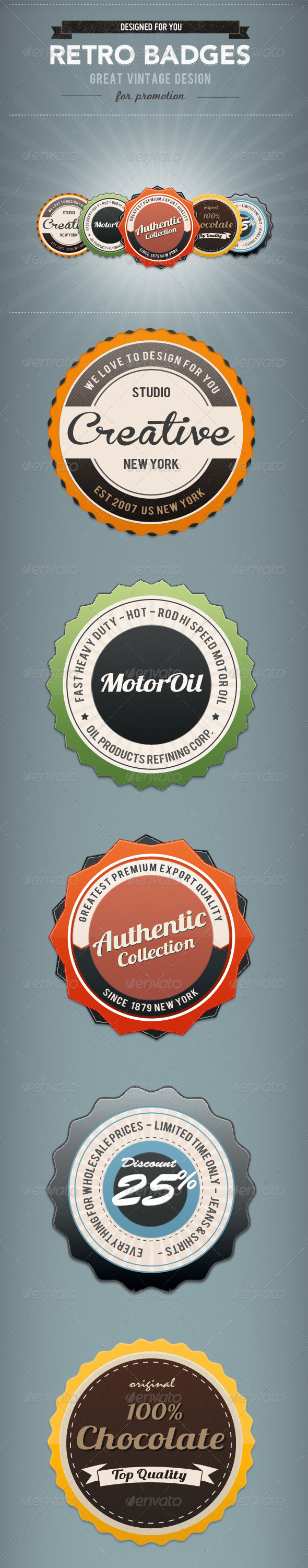 GraphicRiver 5 Glossy Retro Badges 4257091