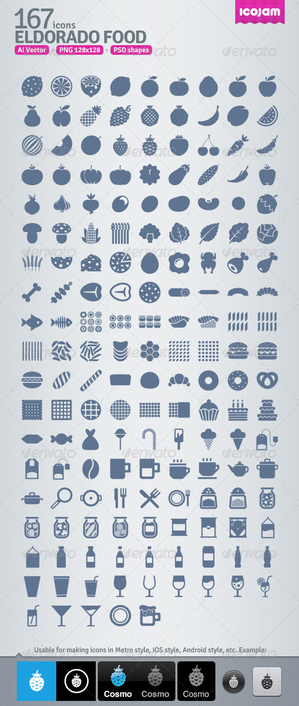 GraphicRiver 167 AI and PSD Food strict Icons 4257190
