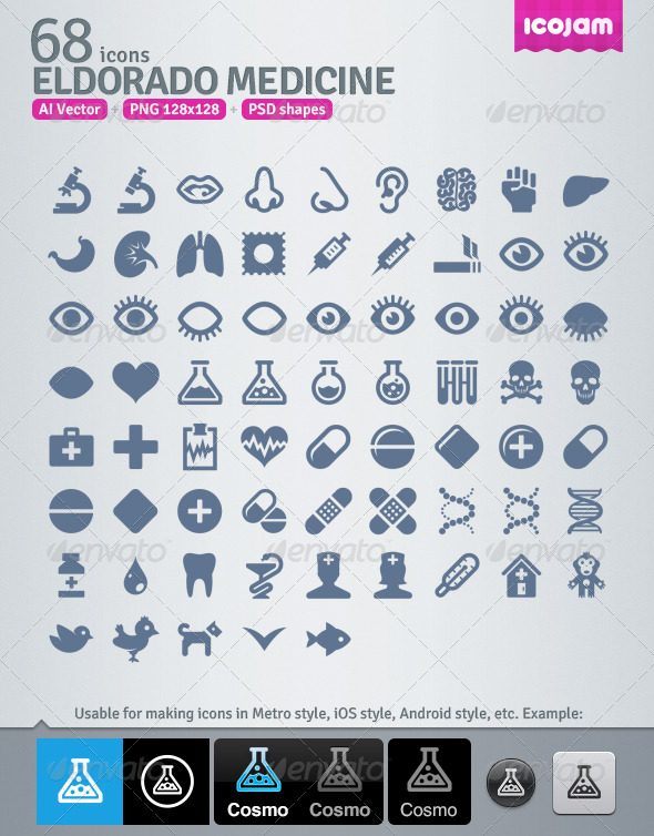 GraphicRiver 68 AI and PSD Medicine strict Icons 4257326