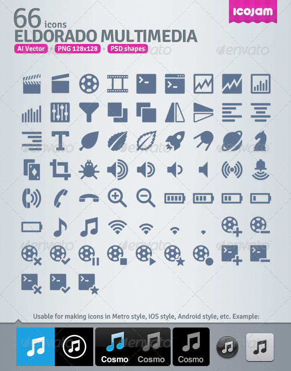 GraphicRiver 66 AI and PSD Multimedia strict Icons 4257460
