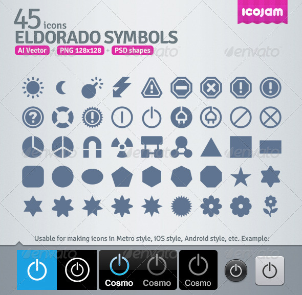 GraphicRiver 45 AI and PSD Symbols strict Icons 4257548